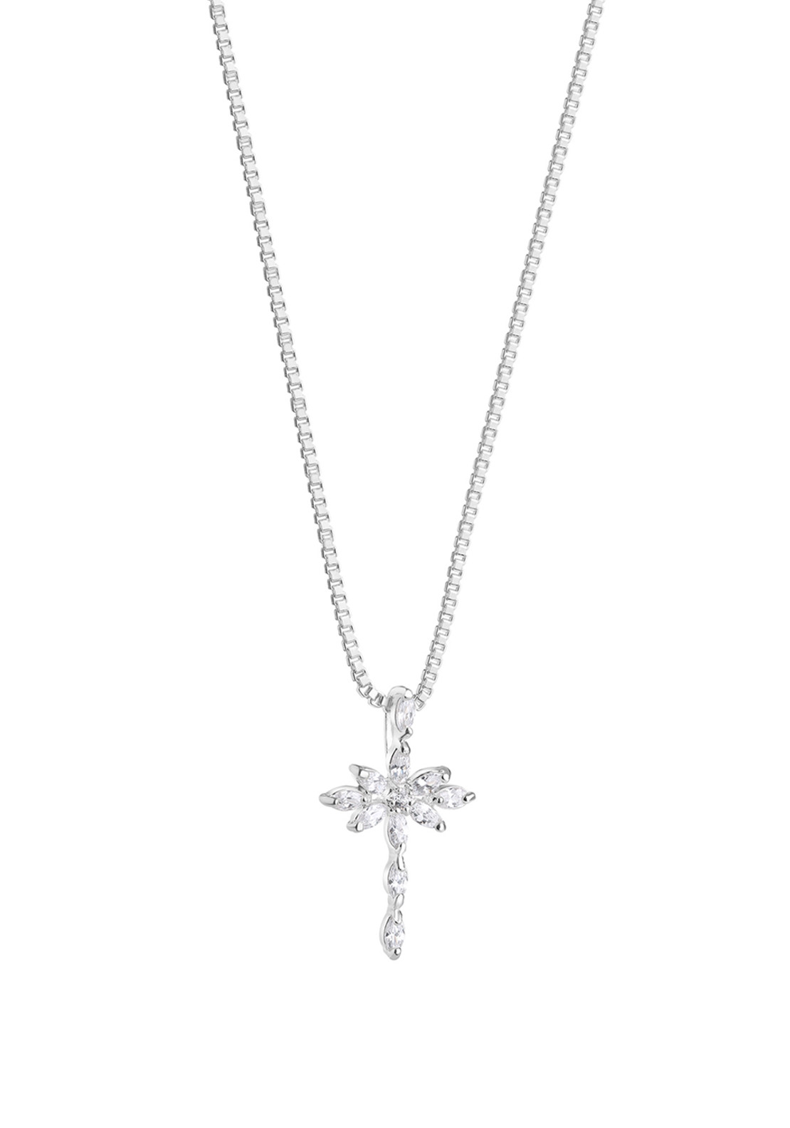 Newbridge Clear Stones Cross Pendant, Silver