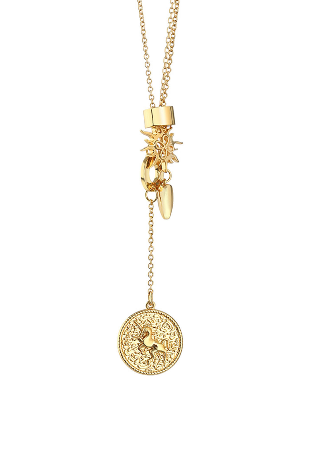 Newbridge Amy Multi Charm Necklace, Gold