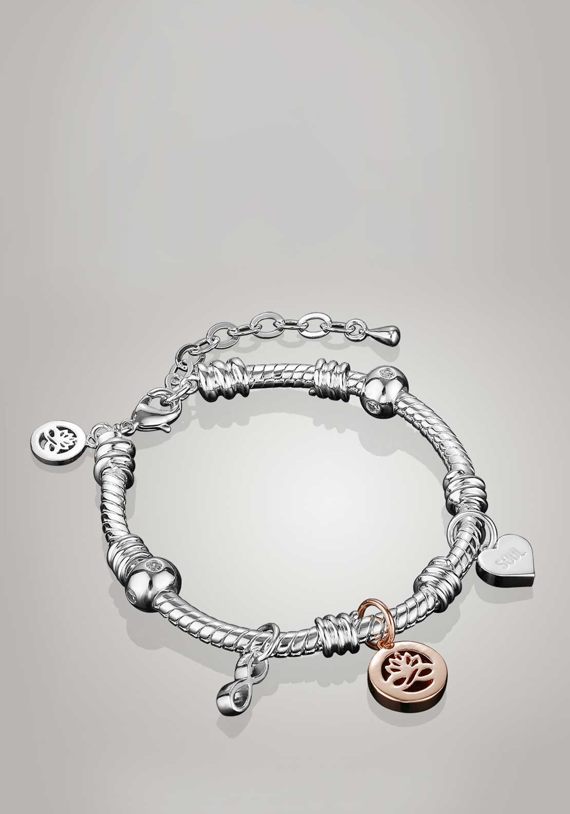 Newbridge Silverware Ti Amo Collection Charm Bracelet, Silver
