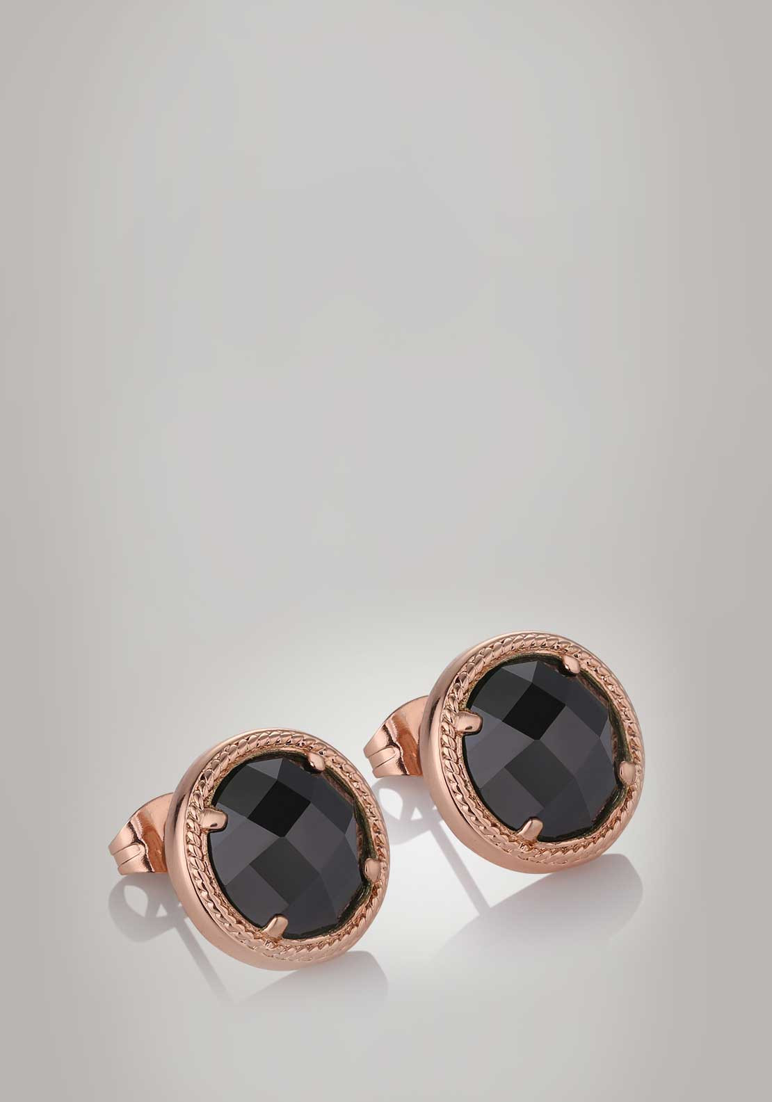 Newbridge Silverware Guinness Black Crystal Earrings, Rose Gold