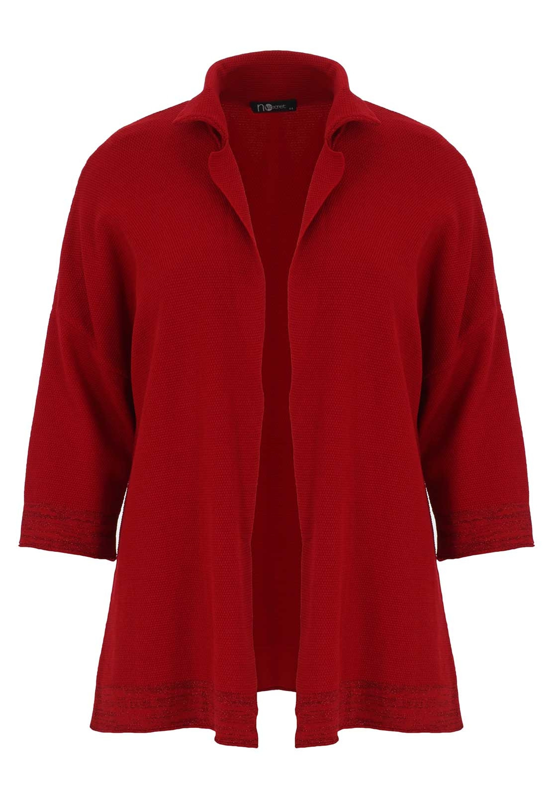 No Secret Textured Long Cardigan, Red | McElhinneys