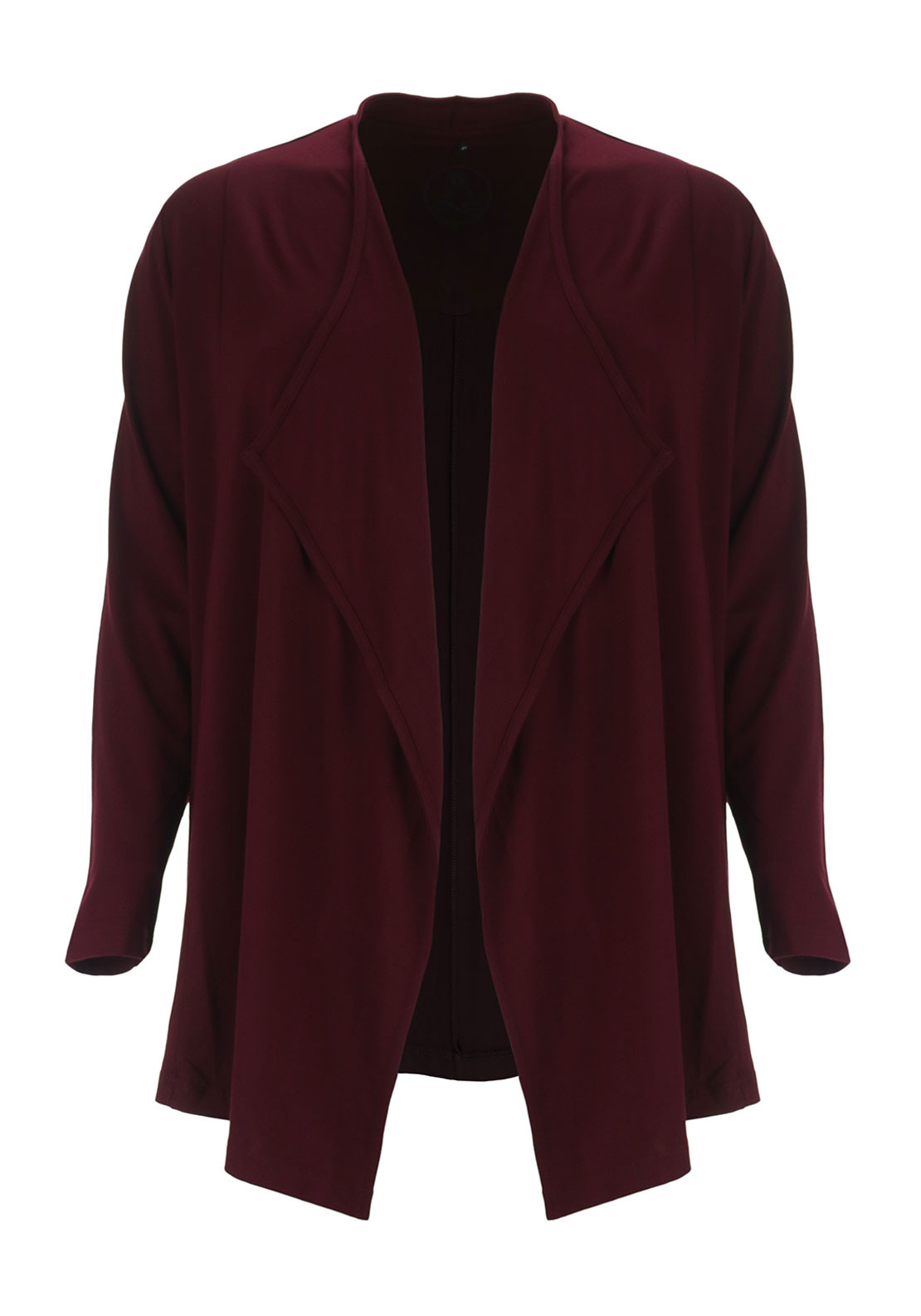 No Secrets Jersey Waterfall Cardigan, Wine