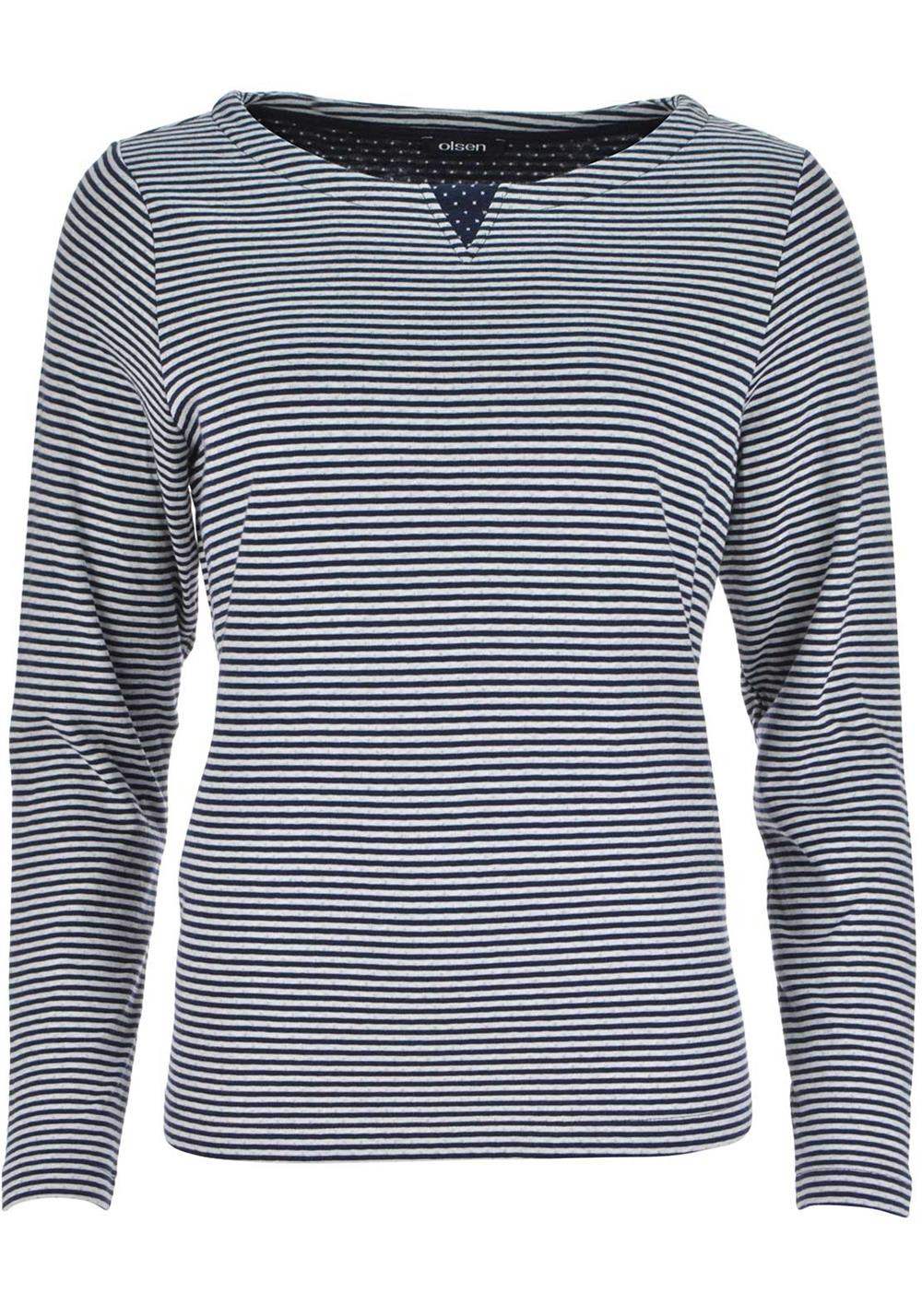 Olsen Striped Long Sleeve Sweatshirt Jumper, Navy And White
