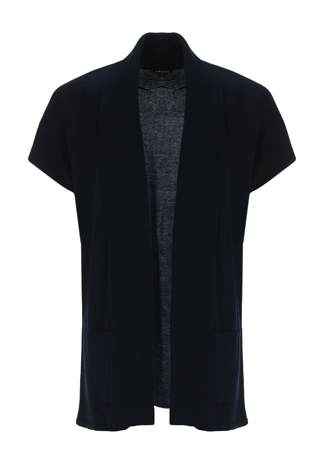 Olsen Short Sleeve Cotton Blend Cardigan, Navy