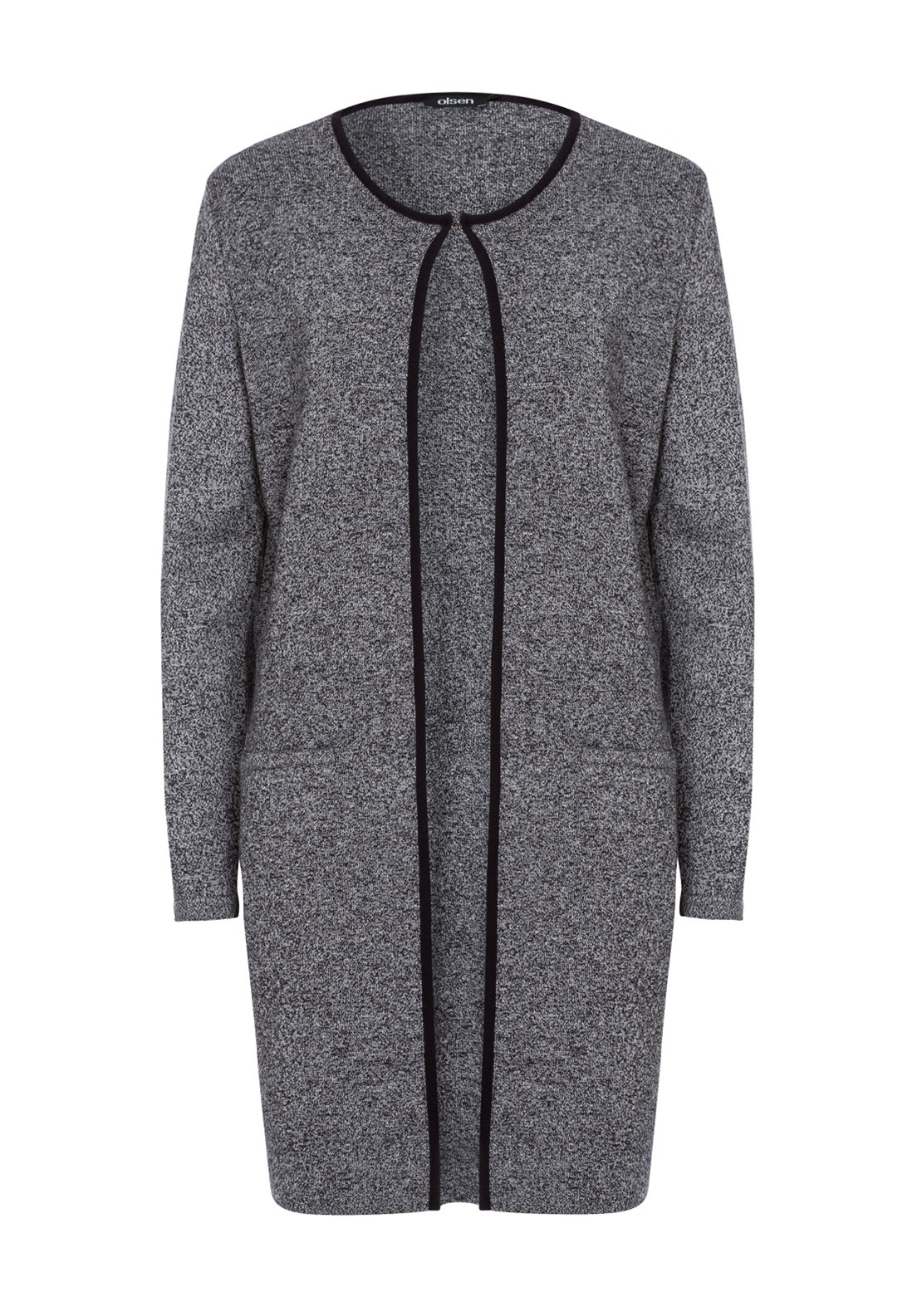 Olsen Cotton Blend Long Cardigan, Grey Marl