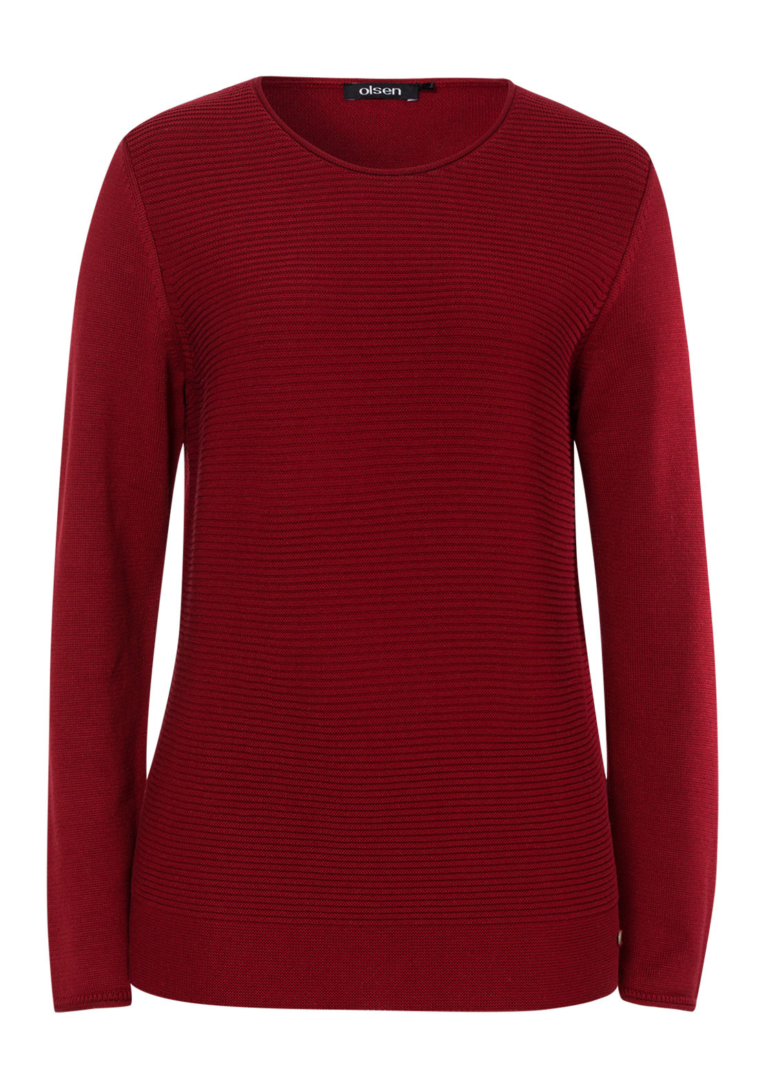 Olsen Ribbed Cotton Blend Jumper, Red