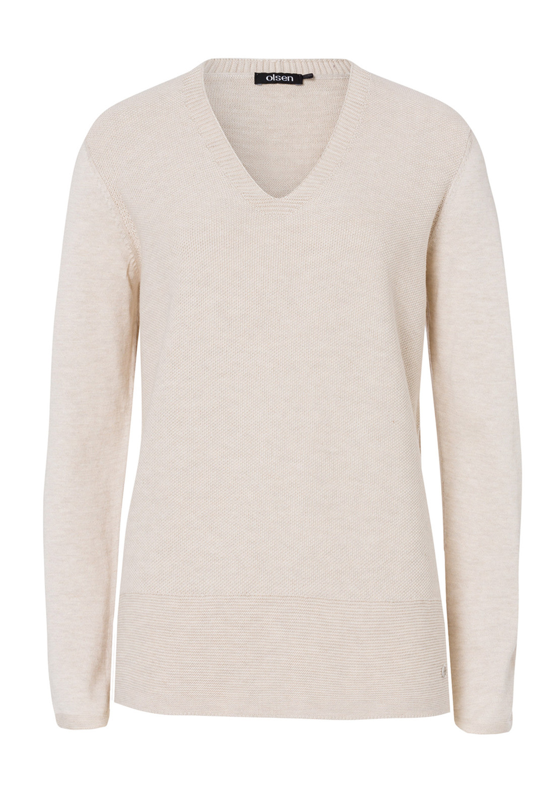 Olsen Cotton Blend V-Neck Sweater Jumper, Beige