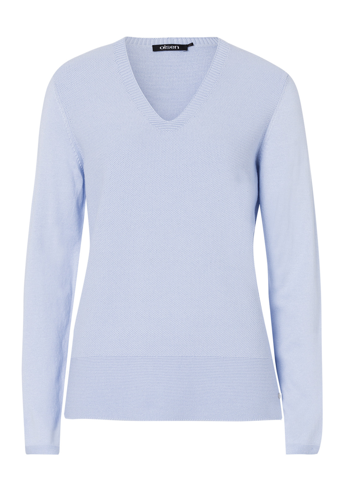 Olsen Cotton Blend V-Neck Sweater Jumper, Pale Blue