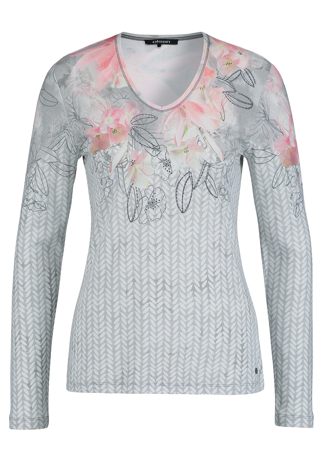 Olsen Leaf & Floral Print Top, Grey Multi