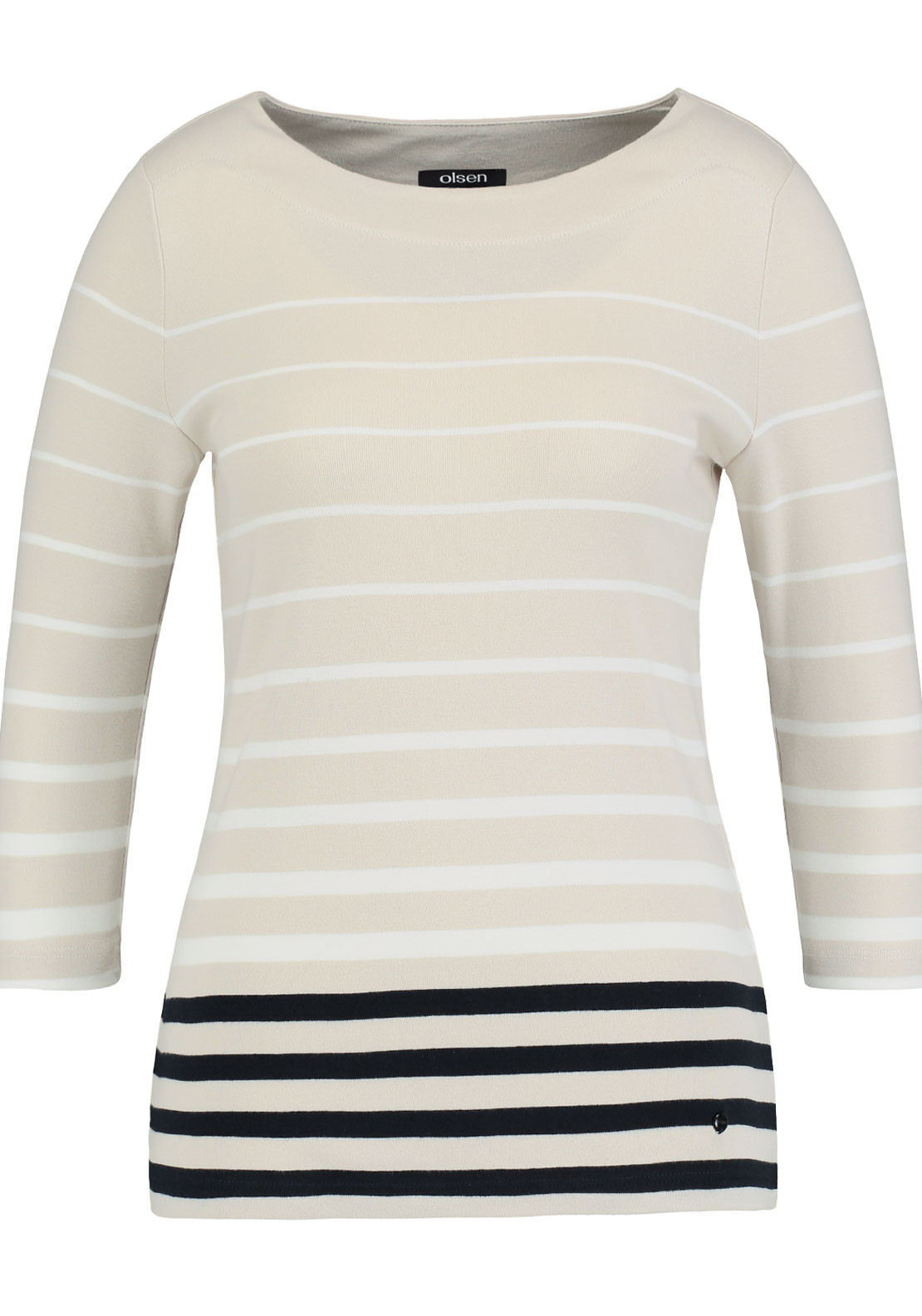 Olsen Striped Cropped Sleeve Top, Beige