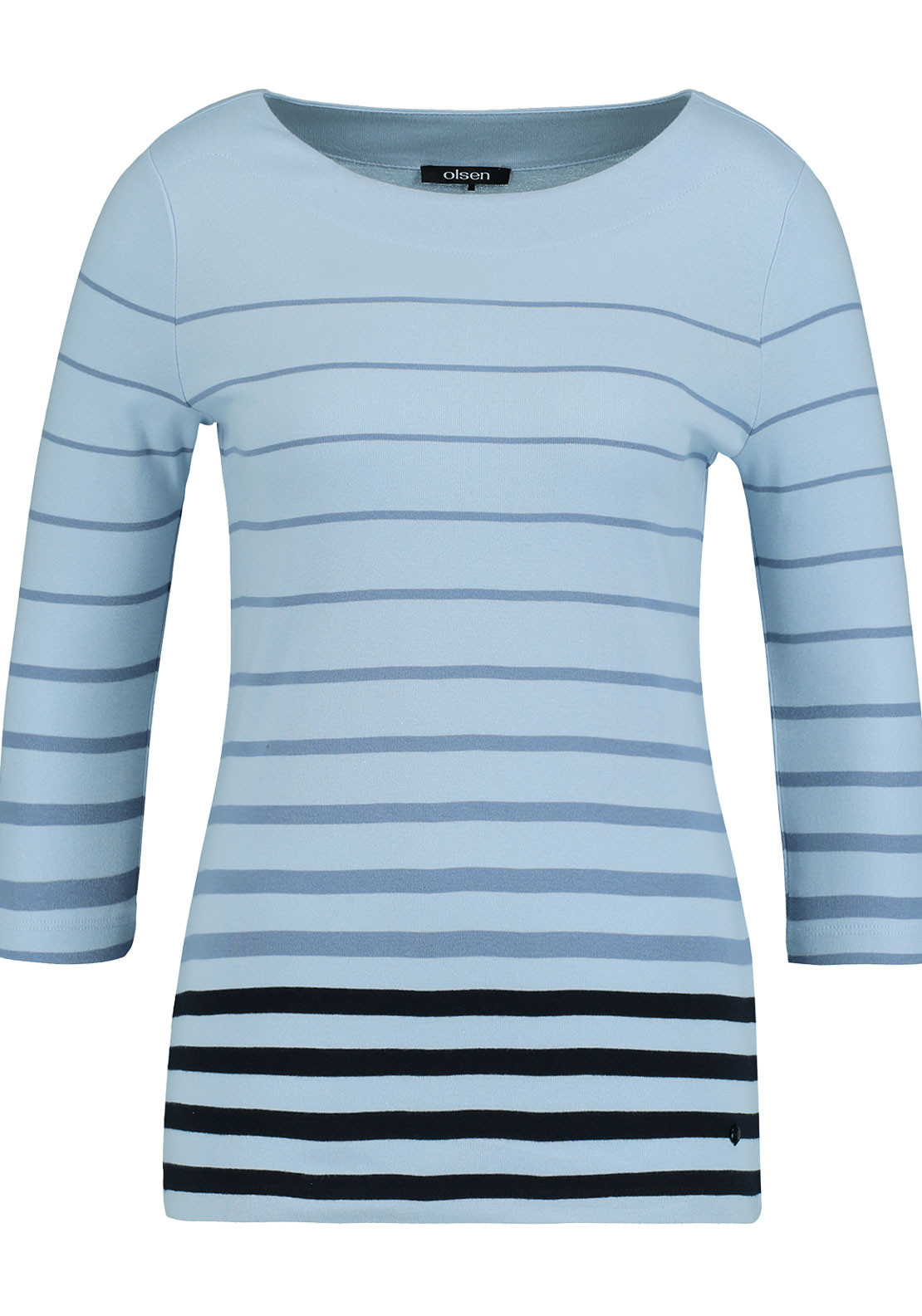 Olsen Striped Cropped Sleeve Top, Blue