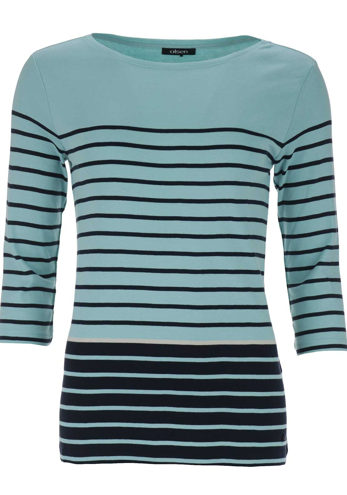 Olsen Striped Cropped Sleeve Top, Mint Green Multi