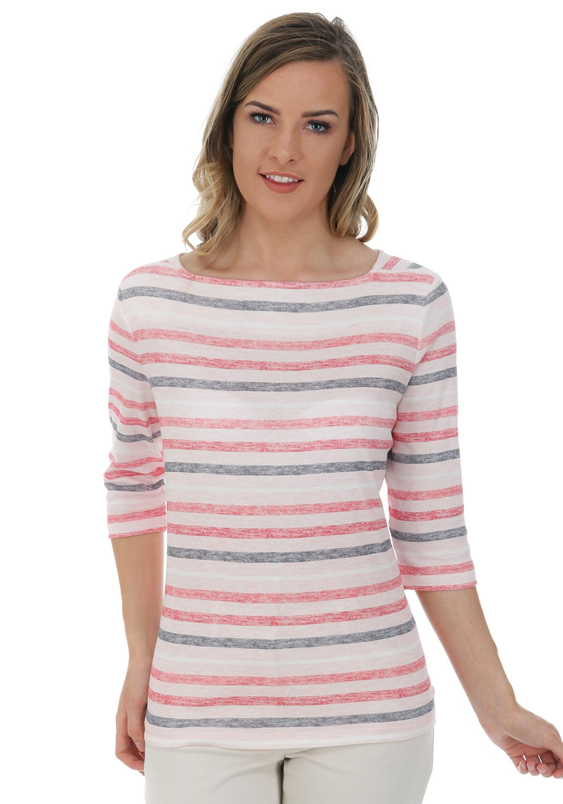 Olsen Striped Cropped Sleeve Top, Pink