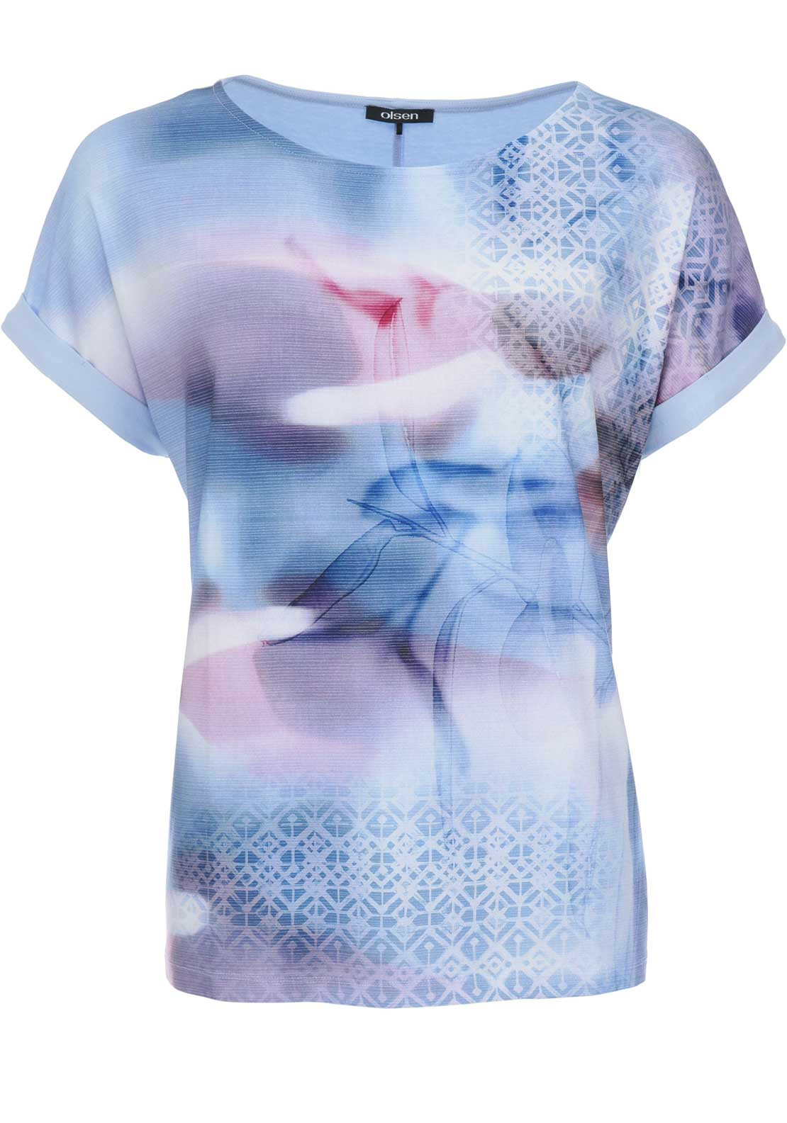 Olsen Abstract Print Jersey Top, Blue
