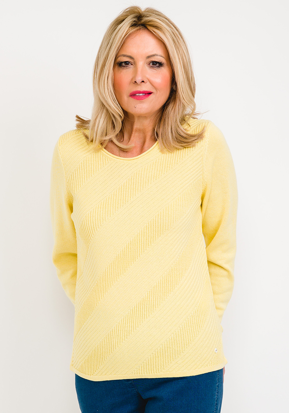 Olsen Ribbed Pullover, Yellow