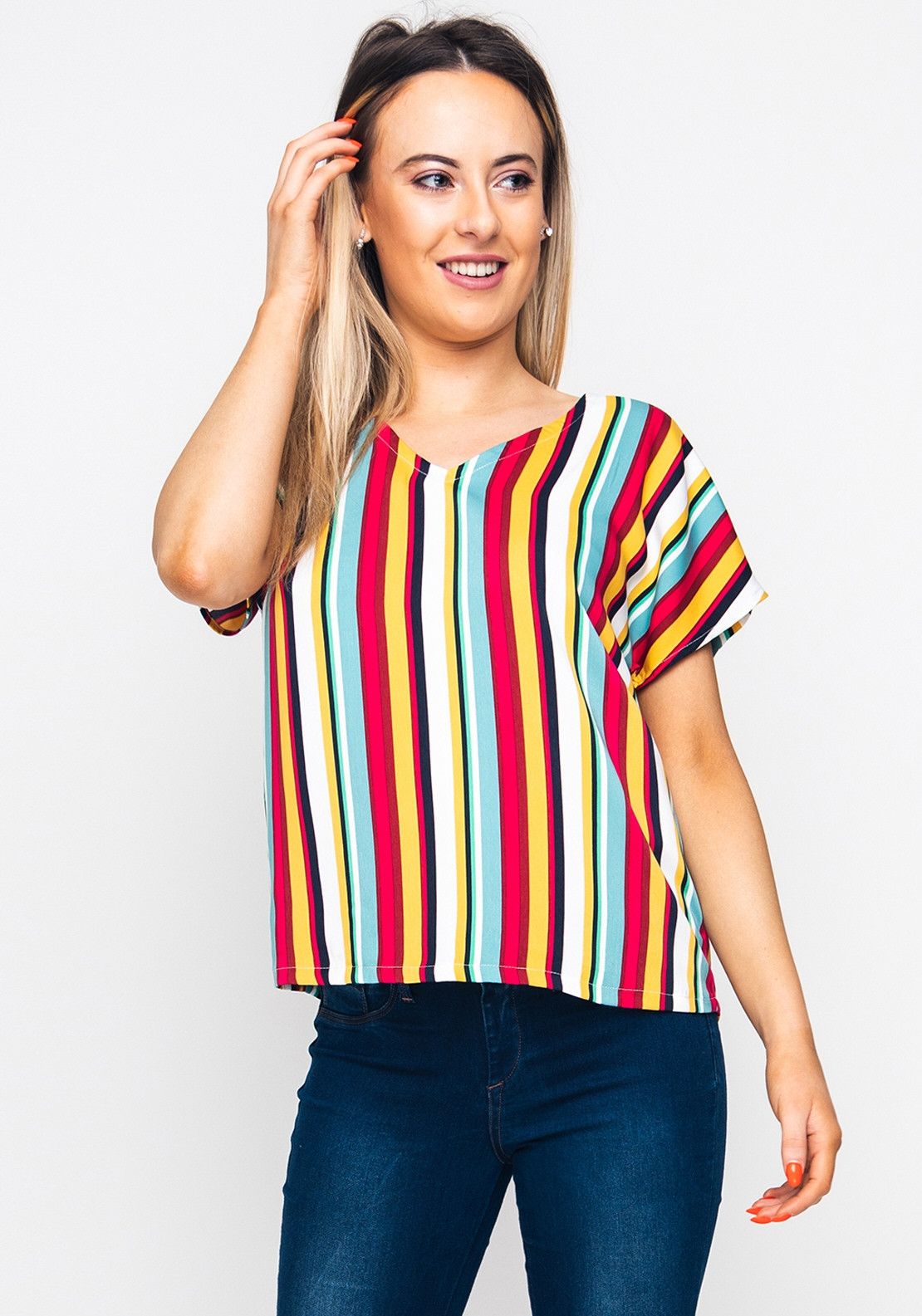 4f711ba5db88 Only Milly Striped V Neck Top, Multi-Coloured | McElhinneys