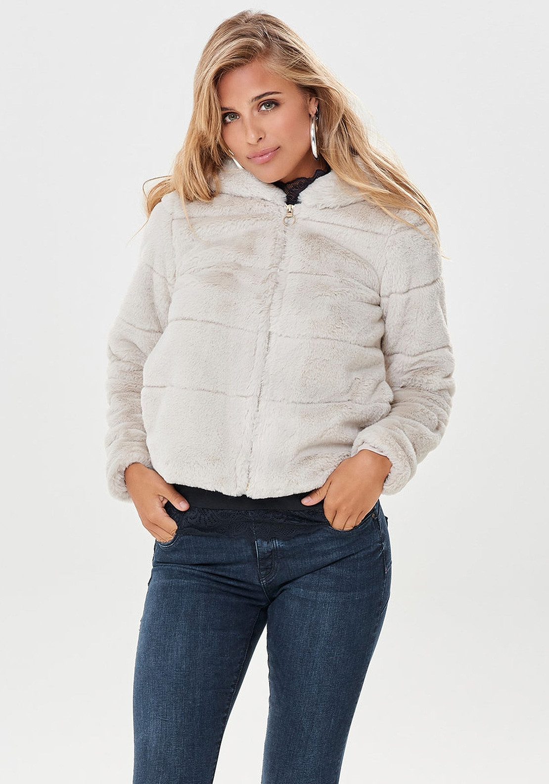 50% off fashion style size 7 Only Chris Faux Fur Hooded Jacket, Cream | McElhinneys
