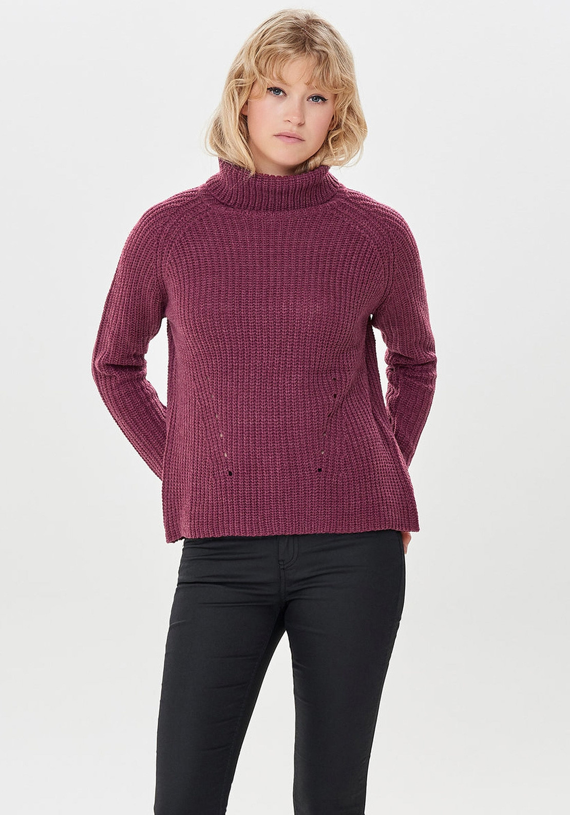 0ba9e56e4c1 Only Justy Roll Neck Knit Jumper, Red Plum