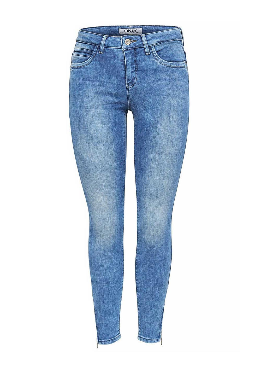 Only Kendall Regular Zip Cuff Skinny Jeans, Light Blue Denim