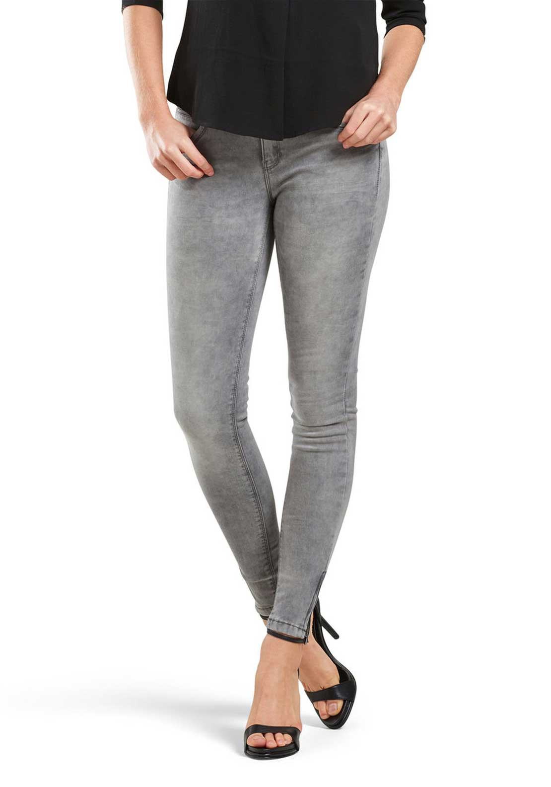 Only Kendell Zip Ankle Grazer Skinny Jeans, Grey