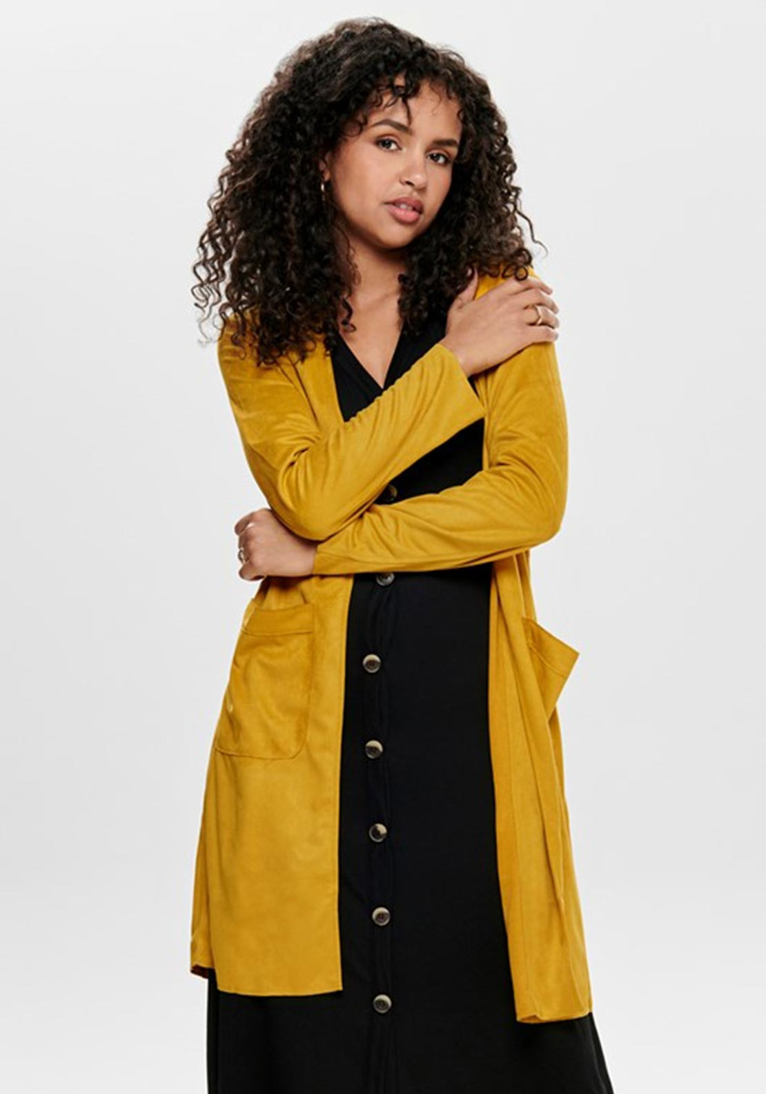 fed0d378f Only Judy Faux Suede Jacket, Yellow