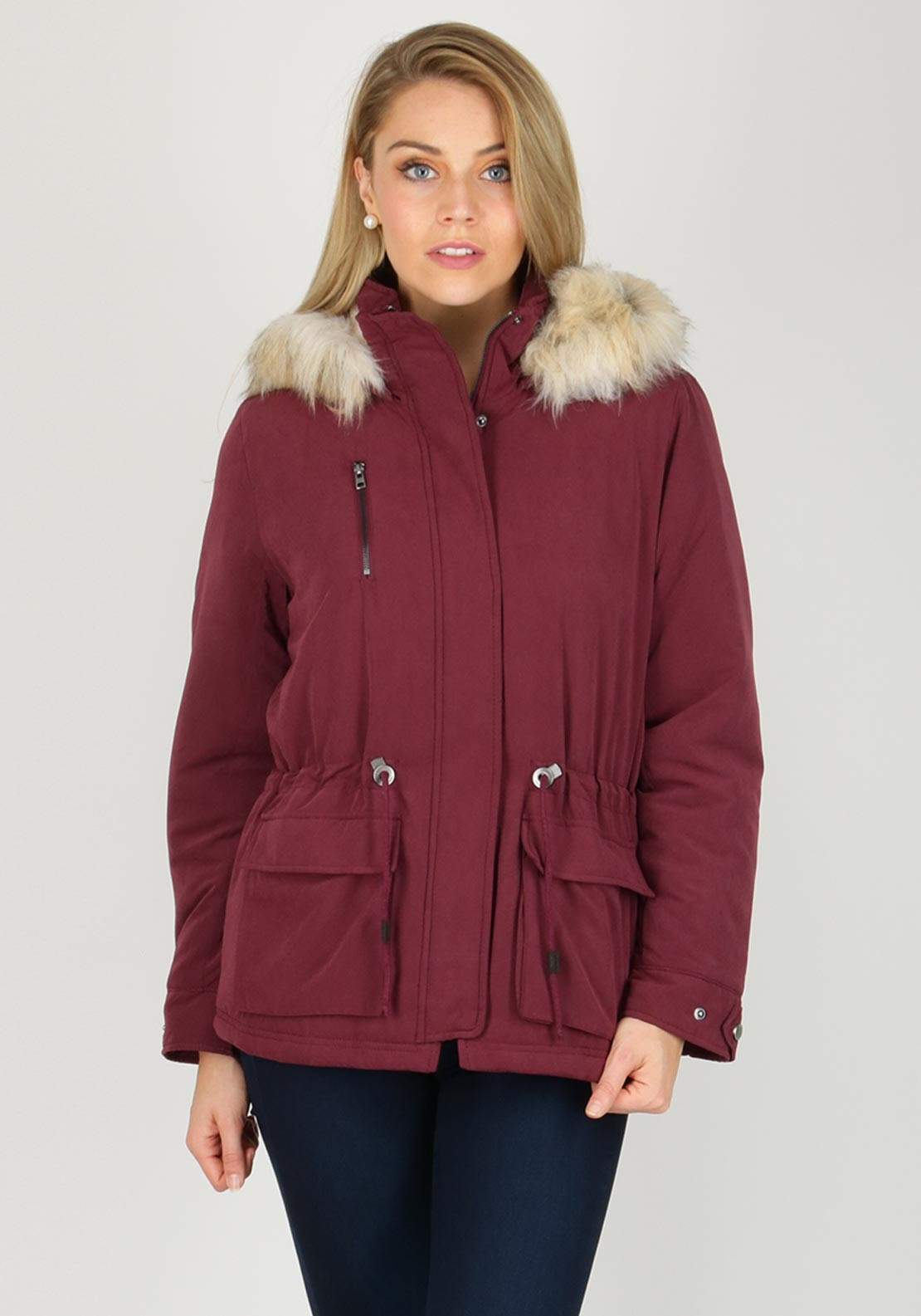 Vero Moda Starlight Short Parka Coat, Burgundy | McElhinneys ...