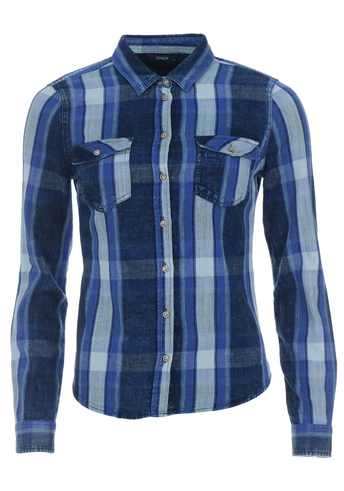 Only Rock Fit Check Shirt, Blue