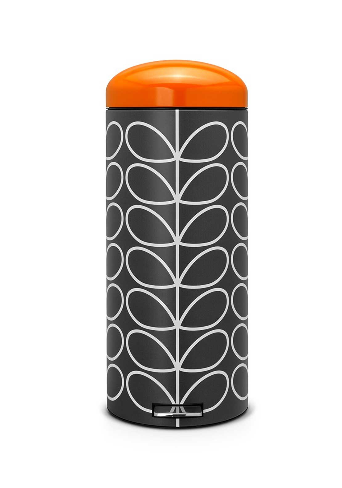 Orla Kiely Retro Silent Bin by Brabantia in Linear Stem Print, Charcoal, 30ltr