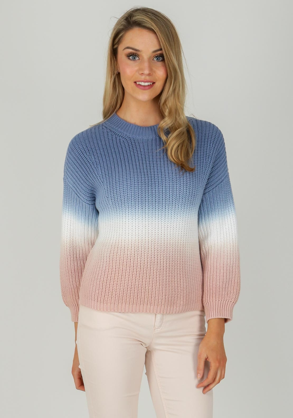 6a2a87eef61e24 Oui Two Tone Chunky Knit Jumper, Blue & Pink | McElhinneys
