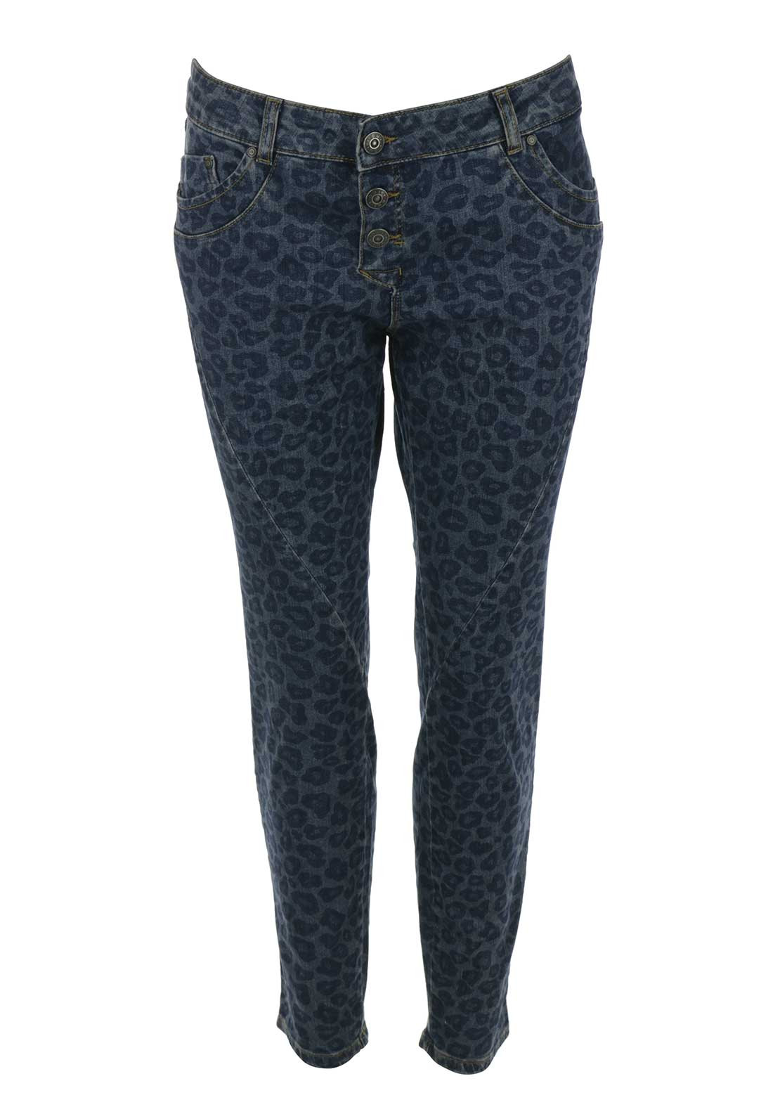 Oui Animal Print 7/8 Skinny Jeans, Blue