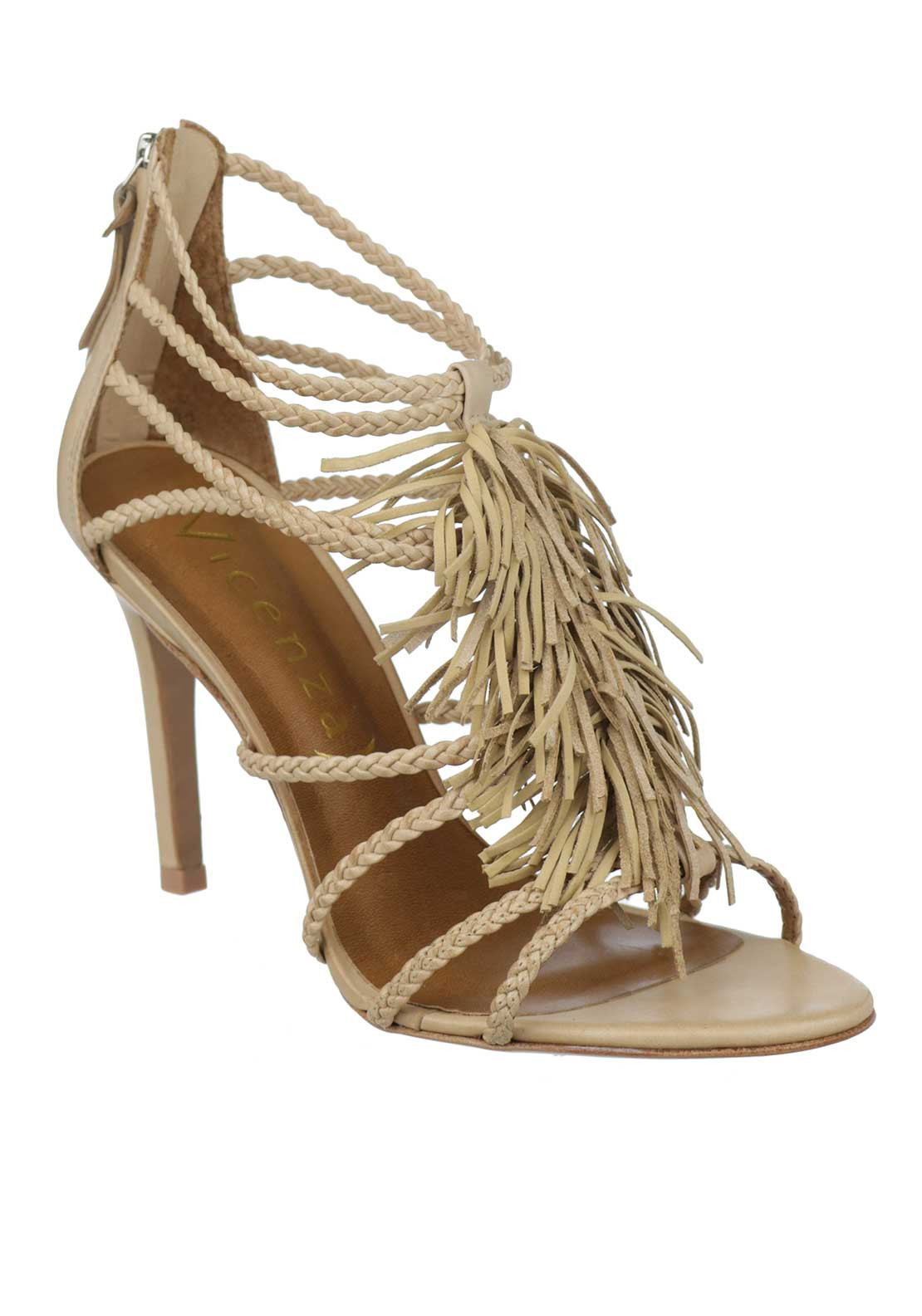 Unique Footwear Leather Pleated Strap Fringed Heeled Sandals, Nude