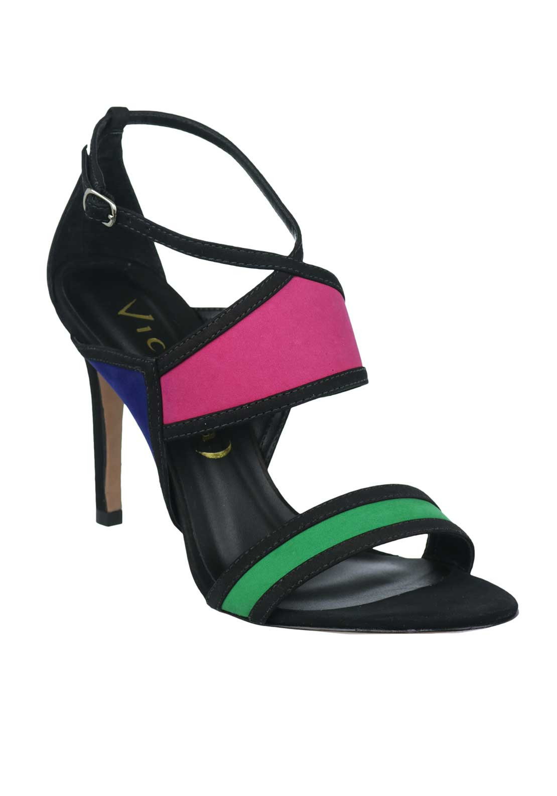 Unique Footwear Suede Colour Block Strappy Sandals, Multi-Coloured