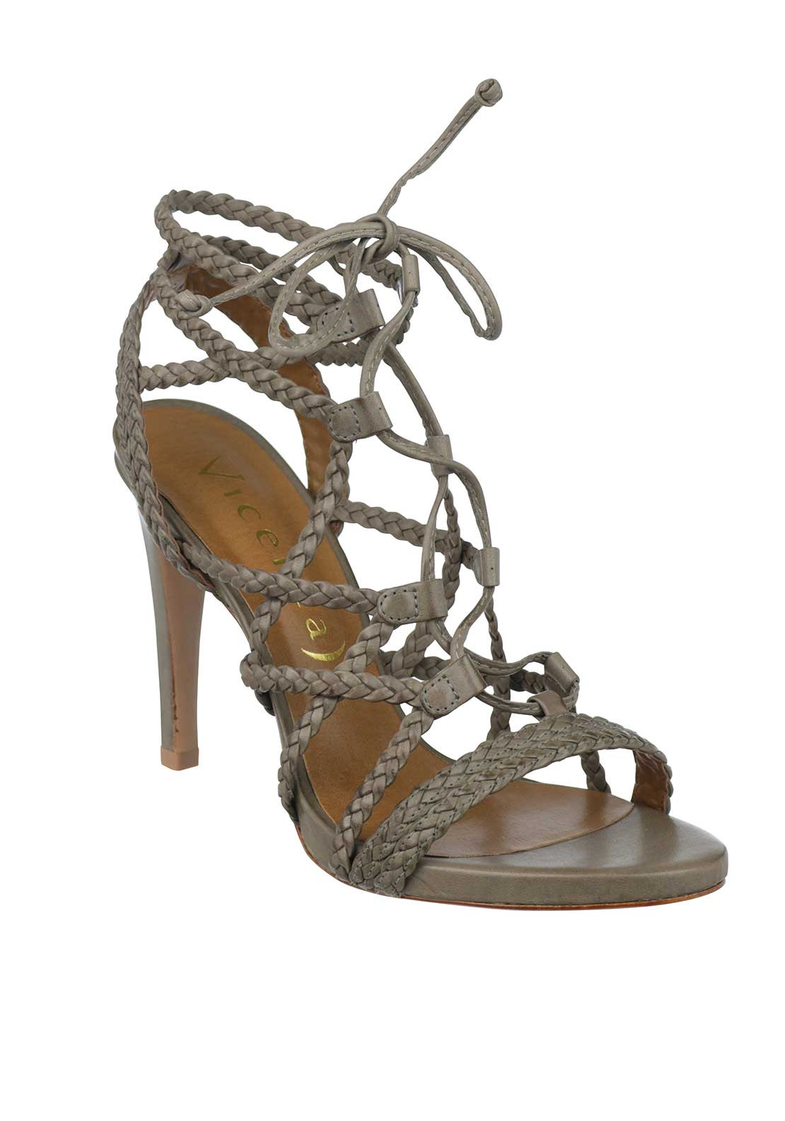 Unique Footwear Leather Pleated Strap Laced Heeled Sandals, Taupe