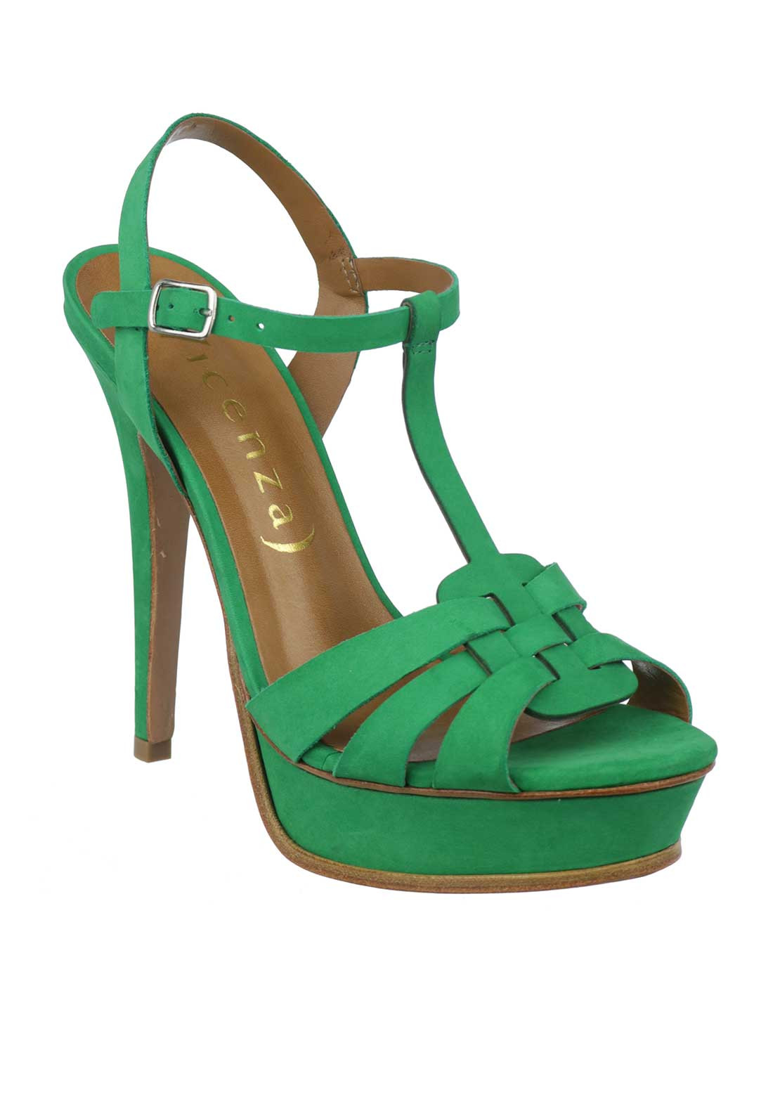Unique Footwear Suede T-Bar Platform Heeled Sandals, Green