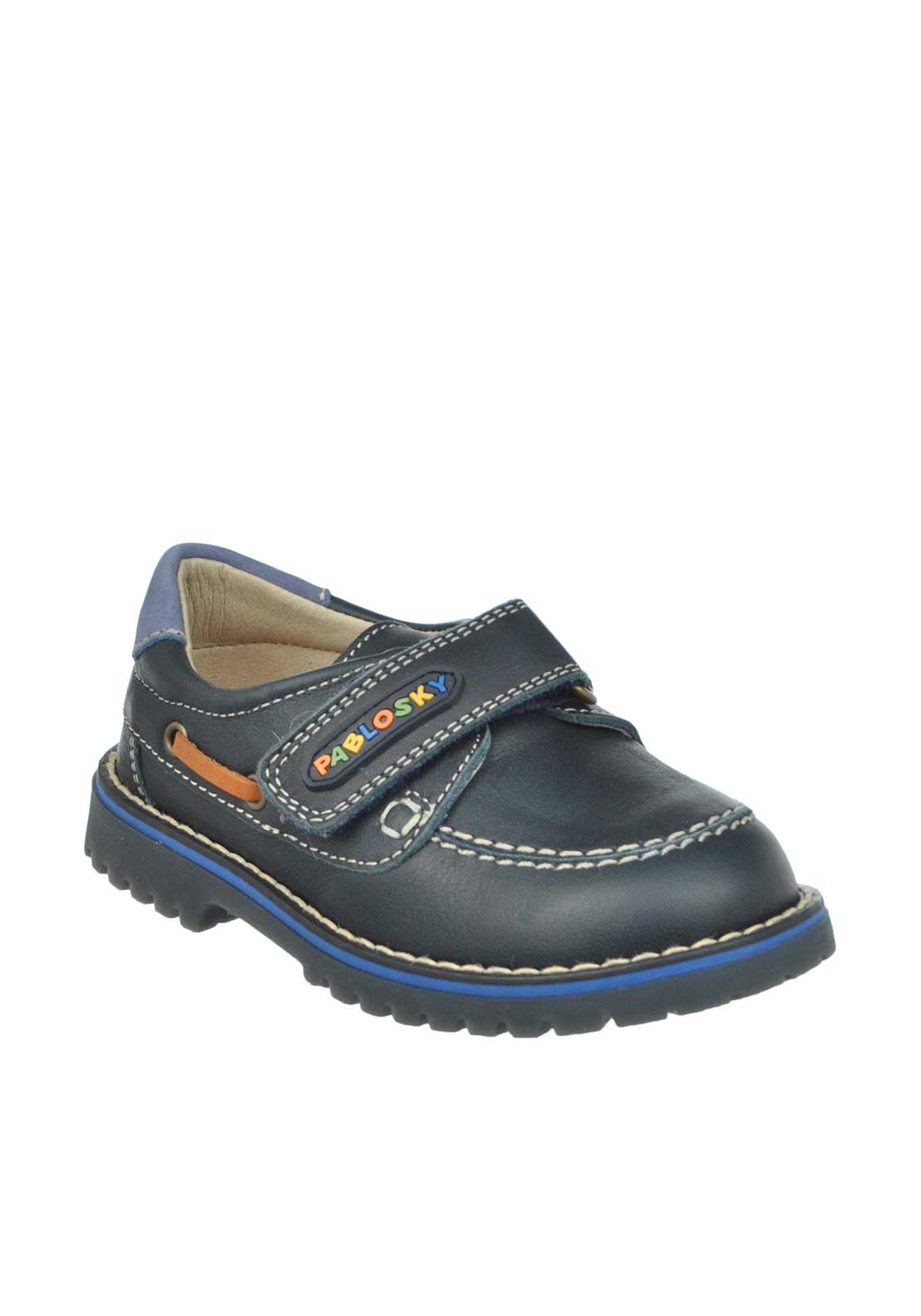 Pablosky Baby Boys Leather Velcro Strap Loafer Shoes, Navy