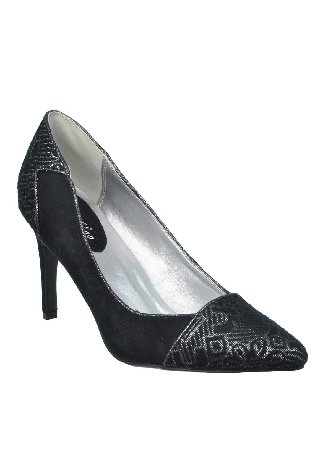 Ruby Shoo Sally Jacquard Print Pointed Toe Heeled Shoes, Black