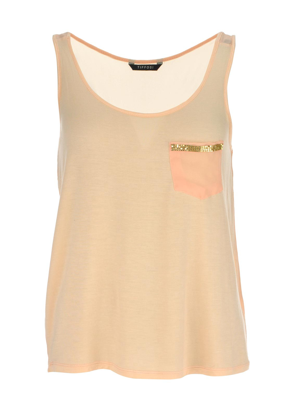 Tiffosi Brandie Embellished Sleeveless Top, Peach