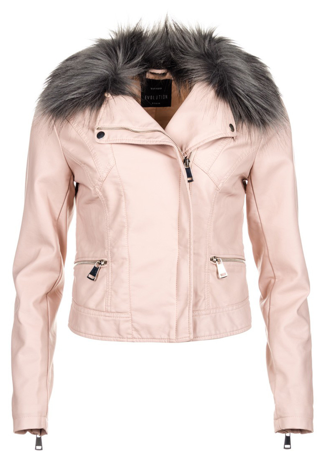 Tiffosi Beverly Leather Look Faux Fur Collar Jacket, Pink