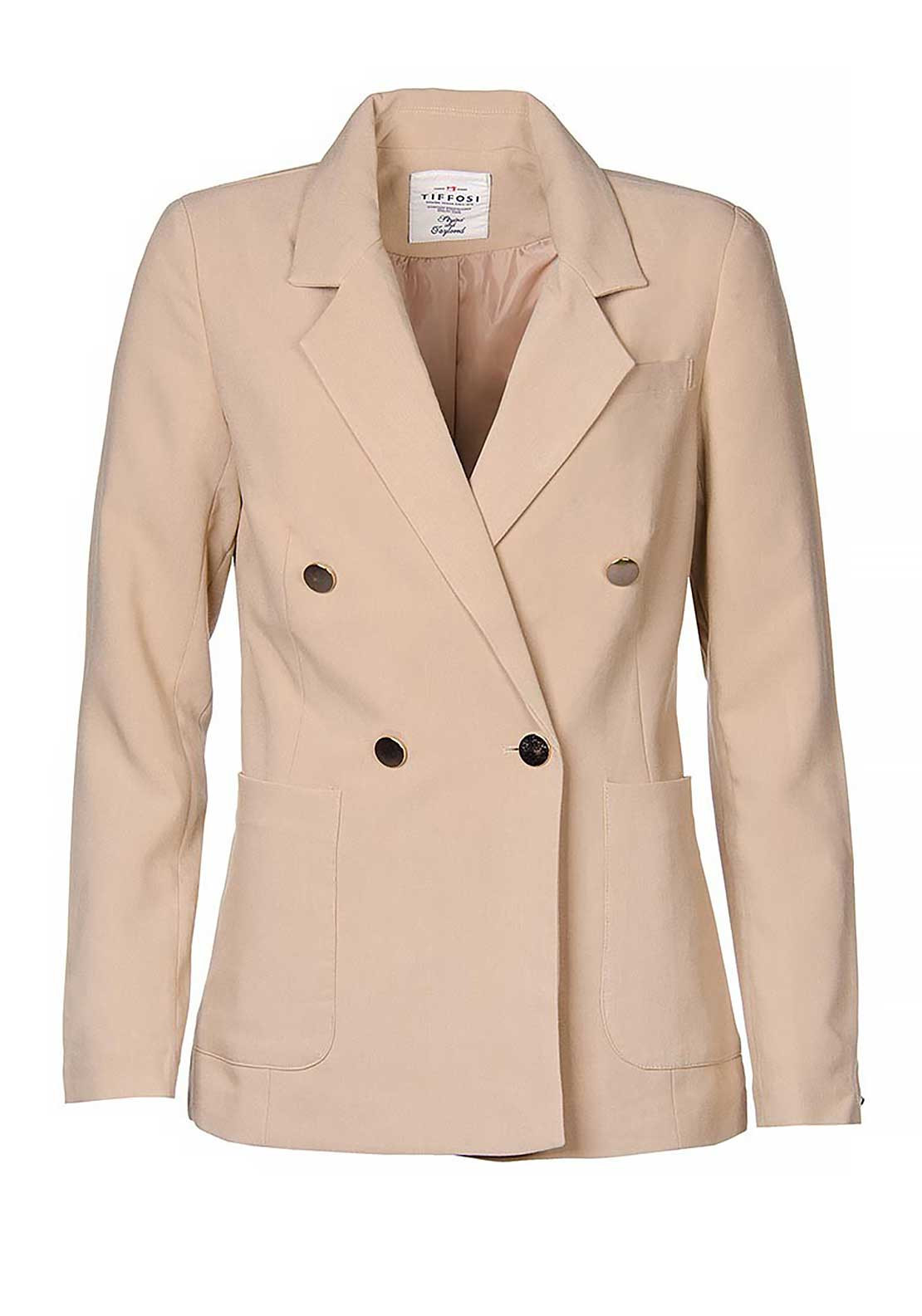 Tiffosi Celia Double Breasted Blazer Jacket, Tan