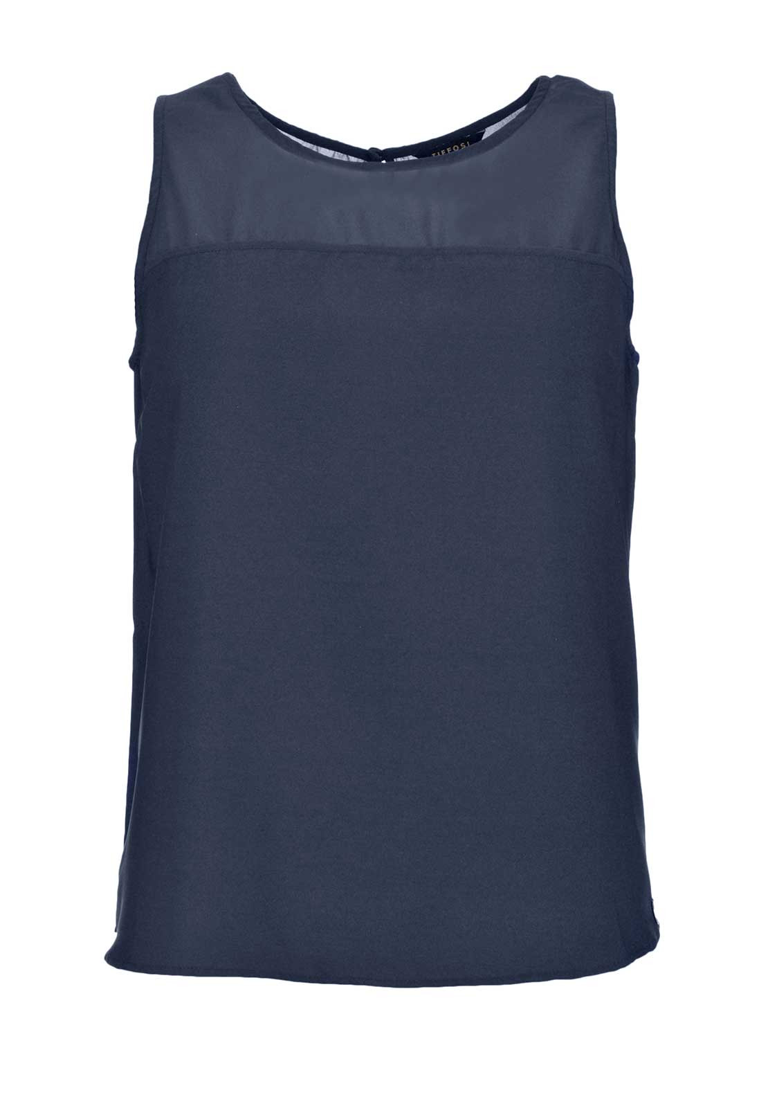 Tiffosi Maureen Sleeveless Chiffon Top, Midnight Navy