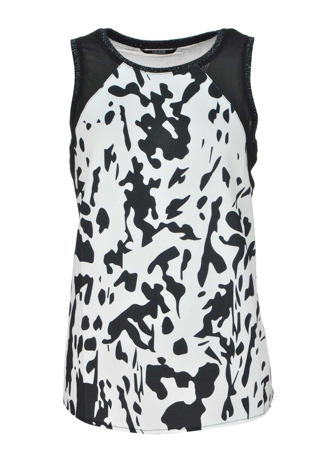 Tiffosi Clara Sleeveless Abstract Print Top, Black and White