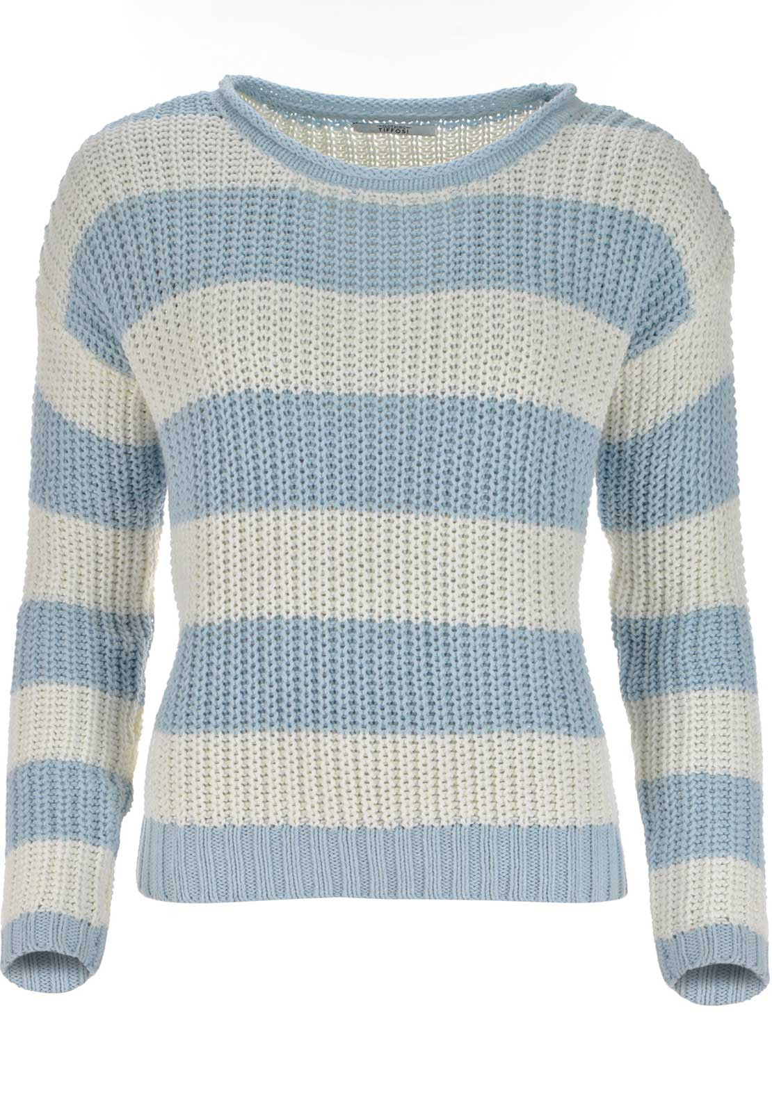 Tiffosi Womens Gully Striped Knitted Jumper, Blue and White