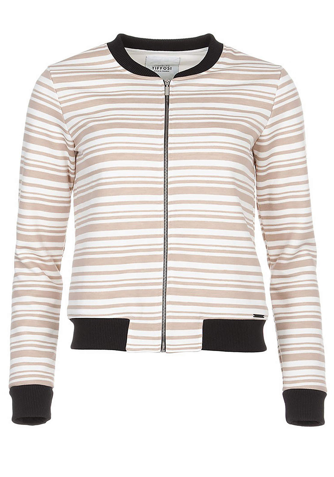 Tiffosi Womens Mara Striped Bomber Jacket, Beige