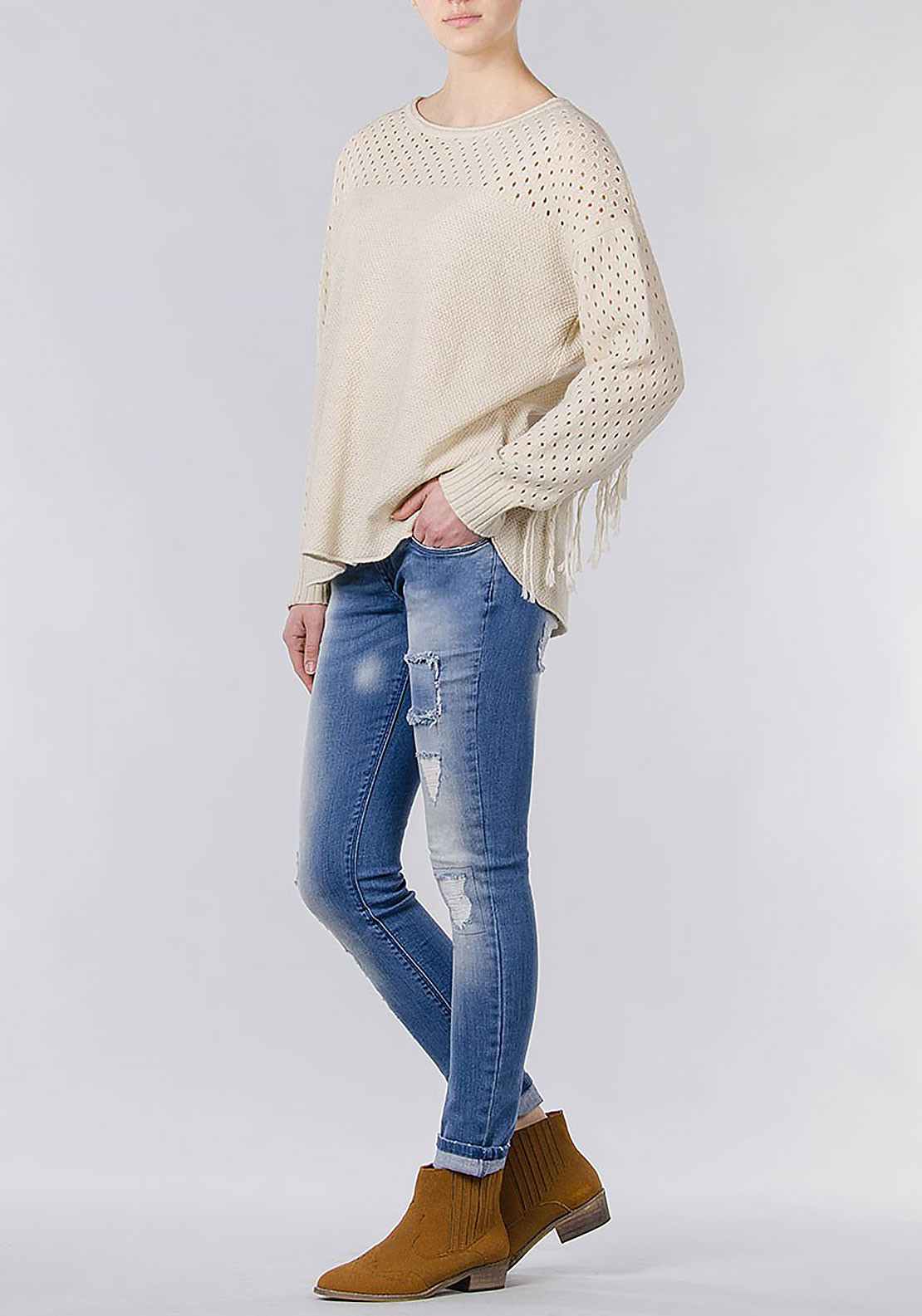 Tiffosi Womens Graz Fringed Knitted Jumper, Beige