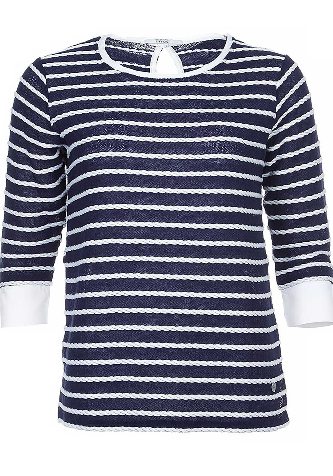 Tiffosi Womens Padua Rope Stripe Knitted jumper, Navy