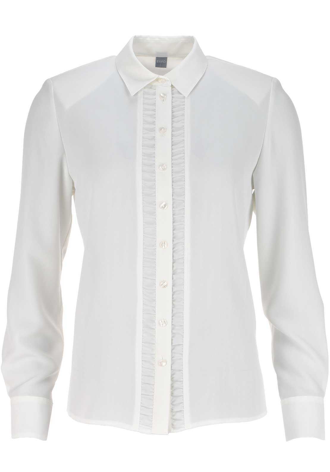 ERFO Ruffle Long Sleeve Blouse, Cream
