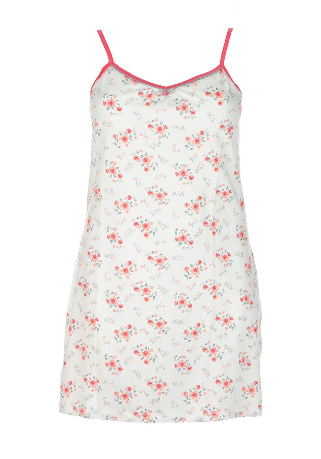 Pastunette Floral Print Sleeveless Nightdress, White Multi