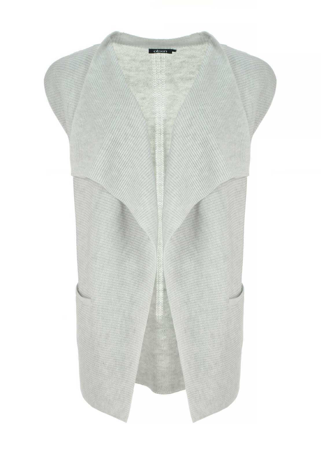 Olsen Chunky Knit Sleeveless Cardigan, Light Grey