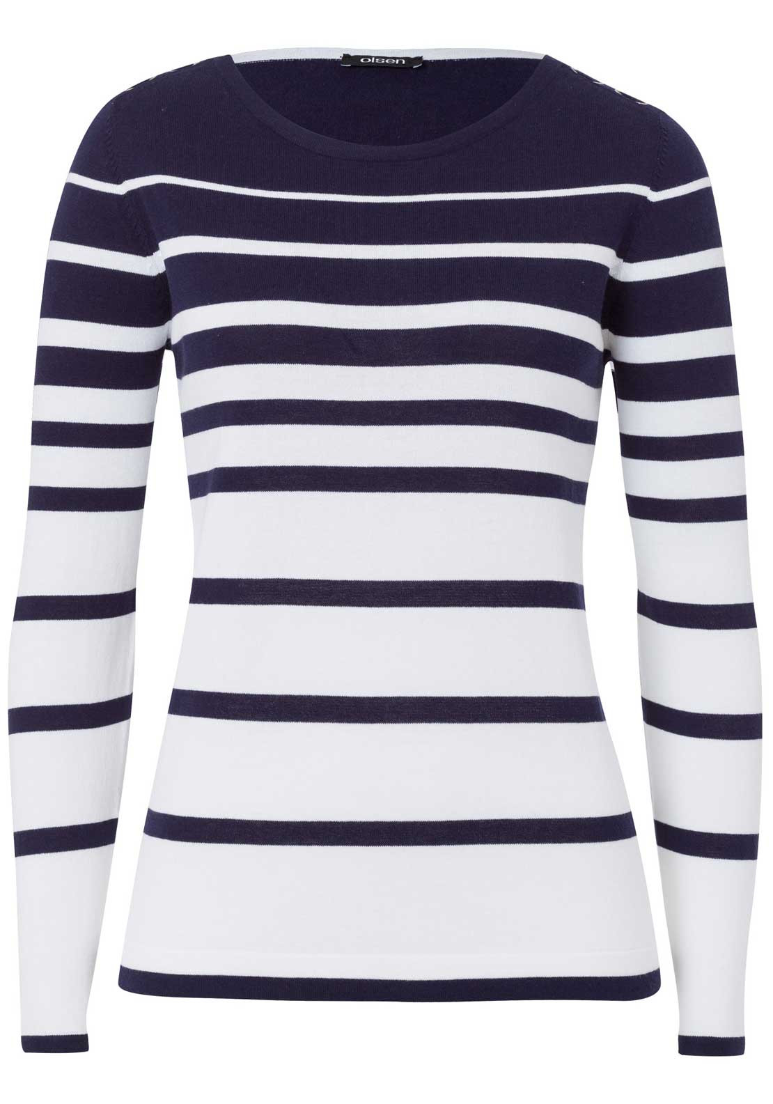 Olsen Striped Jumper Navy and White