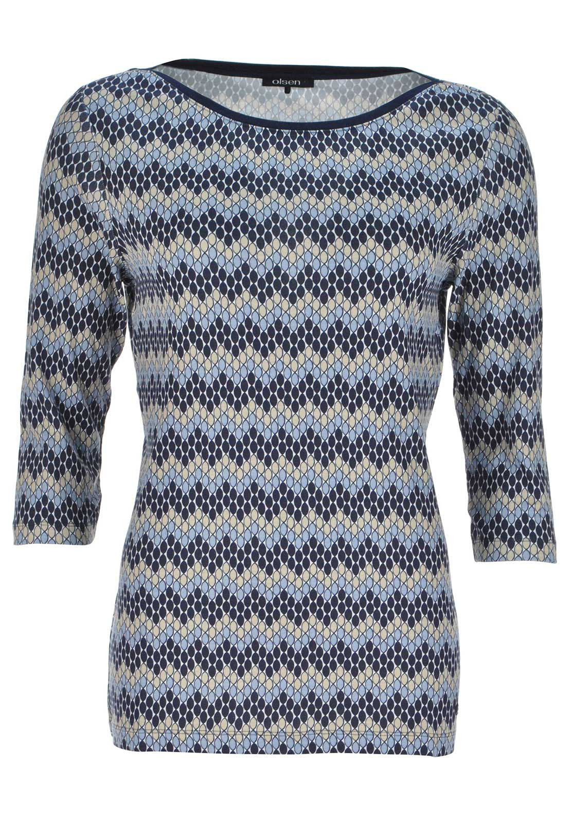 Olsen Circle Print Top Blue